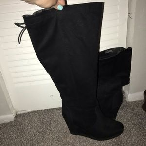 Lane Bryant Knee High Black Wedged Boots Size 10
